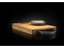 Bambusové prkénko NAPOLEON s nerez miskami